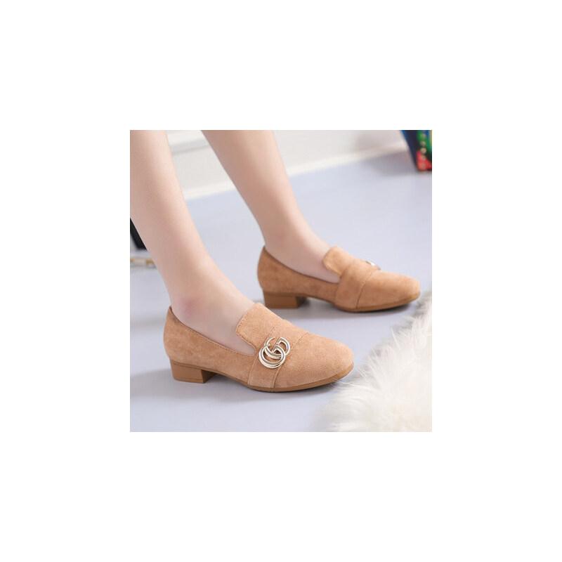 潮款金属字母装饰低帮瓢鞋低跟方跟鞋绒面中口套脚单鞋女 品质保证 售后无忧