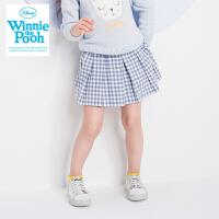 迪士尼女童磨毛格子短裙女孩百褶裙中小童装秋季半身裙学院风裙子