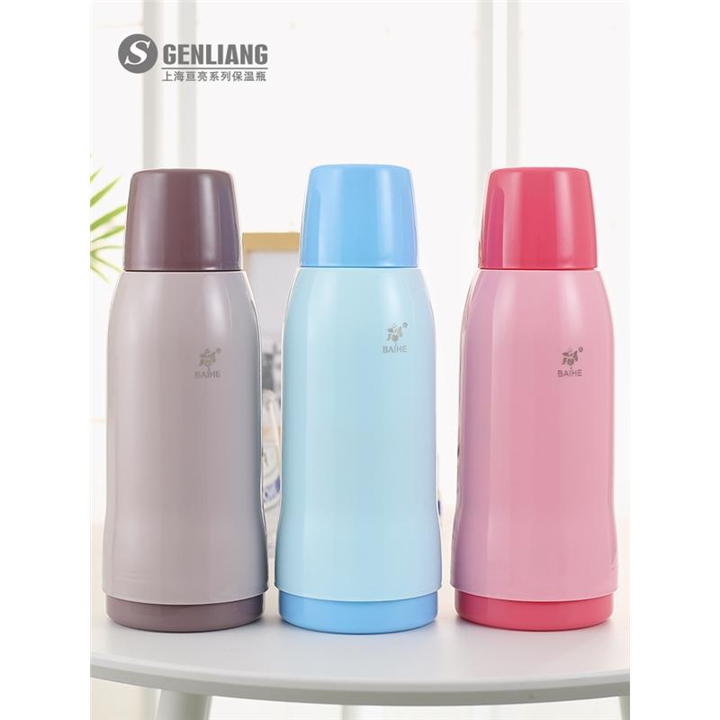 迷你暖壶小热水瓶玻璃内胆保温壶儿童暖瓶保温瓶塑料便携开水瓶1L