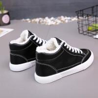 平底板鞋高帮帆布鞋保暖棉鞋子冬季加绒小白鞋女学生韩版休闲百搭