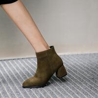 短靴女真皮小码31 大码靴子女-秋踝靴女2019粗跟中跟