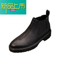 新品上市冬季潮流高帮男靴子英伦靴男真皮尖头型师男鞋韩版马丁靴 黑色