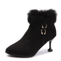 鞋子女冬2018新款高跟短靴女尖头细跟靴子猫跟加绒加厚毛毛雪地靴