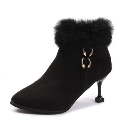 鞋子女冬2018新款高跟短靴女尖头细跟靴子猫跟加绒加厚毛毛雪地靴   关注本店,七天无理由退换 更多特价商品点击进入