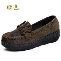 春秋老北京布鞋豆豆女鞋松糕厚底坡跟中跟浅口黑色女工作单鞋 绿色 厚底D-23