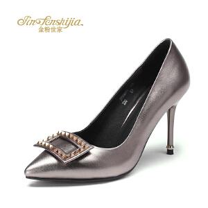 红蜻蜓旗下品牌金粉世家女鞋秋冬休闲鞋鞋子女单鞋高跟鞋JFB1001