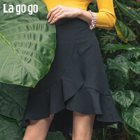 【年终狂欢节两件四折/叠满200-10优惠�弧�Lagogo2019春新款裙子黑色荷叶边a字半身裙包臀短裙女IABB23