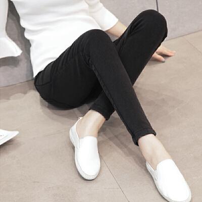 孕妇打底裤秋冬装加绒外穿冬季孕妇裤修身显瘦高弹力仿牛仔裤