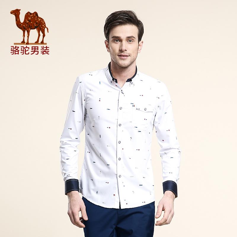 骆驼男装 春季新款无弹尖领碎花日常薄款长袖衬衫 柔软衬衣男