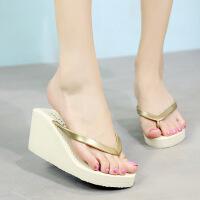 夏季新款高跟人字拖女厚底夹脚简约沙滩鞋滑休闲外穿拖鞋凉拖鞋