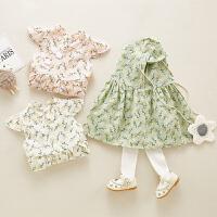 婴儿裙子女宝宝公主裙麦穗印花古装裙夏季洋气可爱宝宝