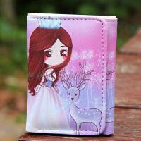 韩版女孩可爱三折短款小钱包小学生折叠卡包儿童迷你潮 皇冠女孩 短款搭扣