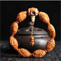 正宗橄榄核雕刻观音头像佛珠手串苏工手艺精雕男女式