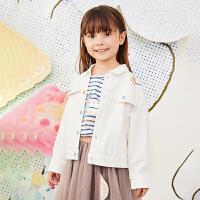 【秒杀价:225元】马拉丁童装女大童外套春装2020年新款休闲丹宁风白色牛仔外套