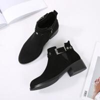 2019秋冬新款女鞋 欧美圆头粗跟低筒靴子金属皮带扣短靴 黑色