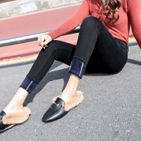 安妮纯港风味加绒牛仔裤高腰冬季新款小脚裤显瘦弹力裤加厚女