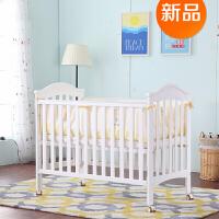 欧式婴儿床实木宝宝床多功能拼接大床游戏床新生儿床可调节 天使白【可搭配购买120*60的床垫】