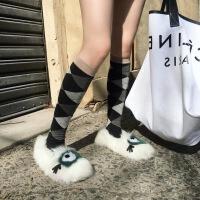 2018秋冬季新款韩版眼睛毛毛面包鞋网红懒人加绒豆豆鞋女
