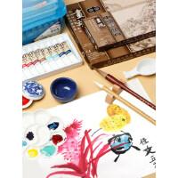 国画工具套装颜料12色18色24色初学者毛笔小学生儿童入门矿物颜料水墨工笔画全套材料工笔画成人专业用品箱