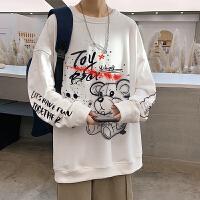 小熊圆领卫衣男秋季潮牌ins港风嘻哈衣服宽松大码胖子百搭长袖t恤
