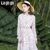 【清仓5折价206】Lagogo/拉谷谷2019春季新款木耳领口甜美中长款连衣裙IALL401C31