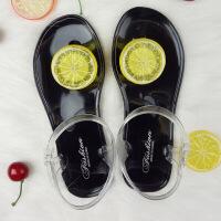 夏季新款韩版沙滩凉鞋女夏天可爱学生平底水果夹脚海边度假潮