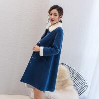 颗粒羊剪绒大衣皮草复合皮毛一体2019新款冬装中长款羊毛羔外套女 雾霾蓝