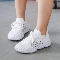 儿童小白鞋 2020新款男女童飞织运动鞋男女孩儿童小白鞋软底跑鞋透气学生休闲鞋