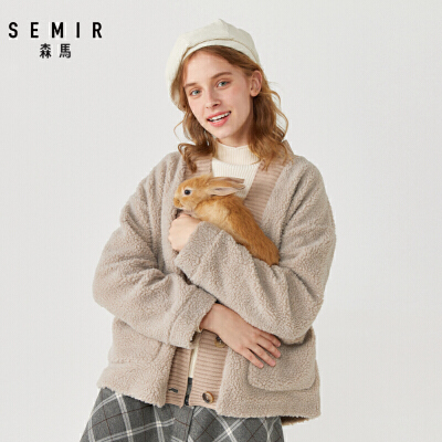 森马仿羊羔毛复合摇粒绒外套女2019冬季新款V领上衣宽松休闲茄克
