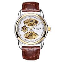 全自动机械表双面镂空男士手表防水夜光商务皮带透底手表