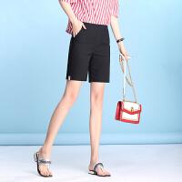 夏季新款松紧腰显瘦字母贴布五分裤弹力休闲直筒裤