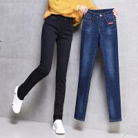 新年特惠带绒牛仔裤加绒加厚女大码潮高腰弹力冬天外穿直筒宽松抓绒