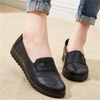 中老年女鞋防滑中年老人奶奶鞋女春秋妈妈鞋单鞋舒适平底真皮软底 黑色