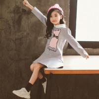 儿童连衣裙 女童娃娃领长袖连衣童裙2020春秋装洋气韩版中大童洋气猫咪公主裙子