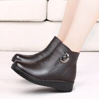 老人棉鞋女冬季加绒棉皮鞋保暖滑平底新款中老年冬鞋