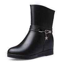 靴子女2018新款冬季中筒皮鞋女靴加绒保暖平底中老年棉鞋 7158 黑色