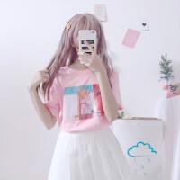夏季软妹可爱宽松粉色T恤女美少女战士印花短袖百搭上衣