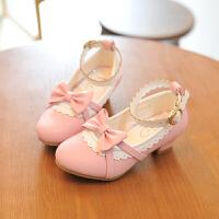 儿童皮鞋女童高跟鞋蝴蝶结公主鞋中大童单鞋