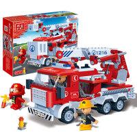 【小颗粒】邦宝益智拼插积木儿童开心玩具消防模型悍马抢救车