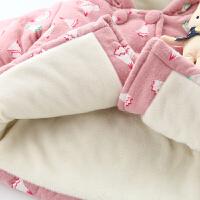 女宝宝冬装加厚棉衣 婴儿棉袄0一1-3岁连帽外套儿童加绒