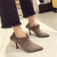 短靴女秋冬2018新款时尚毛毛靴裸靴踝靴尖头细跟高跟鞋女单靴裸靴