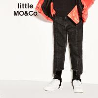 littlemoco冬季新品女童裤子不对称洗水牛仔休闲长裤童装裤子