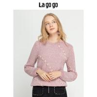 Lagogo/拉谷谷2018冬季新款甜美文艺学院风针织衫女HCMM43YM22