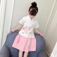 女童汉服夏季女宝宝复古套装民国中国风古装儿童唐装夏装