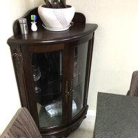 实木墙角柜置物架欧式酒柜转角三角柜储物柜拐角柜客厅边角柜 黑胡桃色 包到楼下
