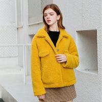 羊羔毛外套女2019新款皮草短款皮毛复合颗粒羊剪绒羊羔绒大衣秋冬