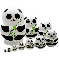 抖音俄罗斯套鸡10层熊猫套娃彩绘套娃娃创意生日礼品儿童玩具
