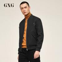 【GXG过年不打烊】GXG男装 冬季黑色短款保暖羊毛棒球领夹克外套#174821342