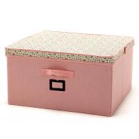 博纳屋大号收纳盒有盖储物箱 百纳箱50*47*26CM洛丽塔羽绒服收纳盒田园棉布收纳箱 整理箱