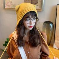 猫耳朵针织毛线帽子女冬天日系甜美可爱ins系带包头韩版百搭网红